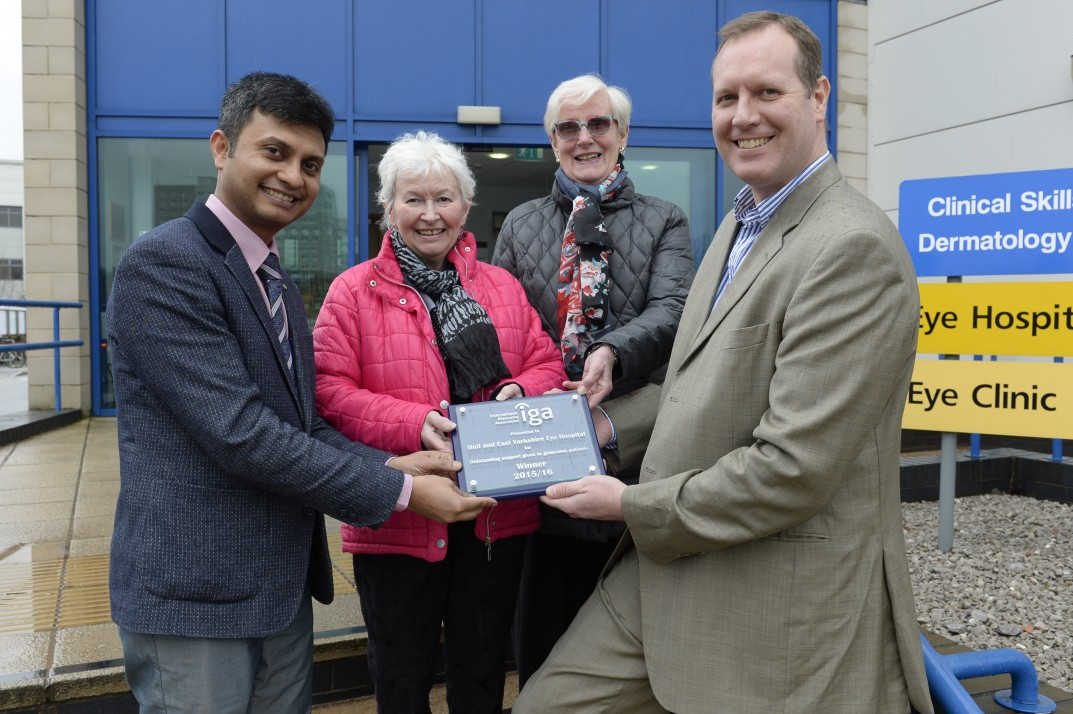 Shown at Hull Eye Hospital is consultant Mr Craig Burnett and the Hull and East Riding Glaucoma Group. The group nominated the hospital for this top opthalmic award and Dr Burnett and Dr Sudipto Bhatta were grateful to receive it. Left to right Dr Sudipto Bhatta, Kay Slingsby, Liz Thrustle-Webster, Dr Craig Burnett.