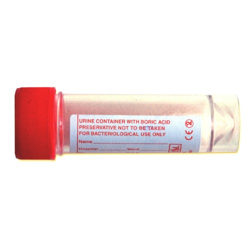 Urine container with boric acid