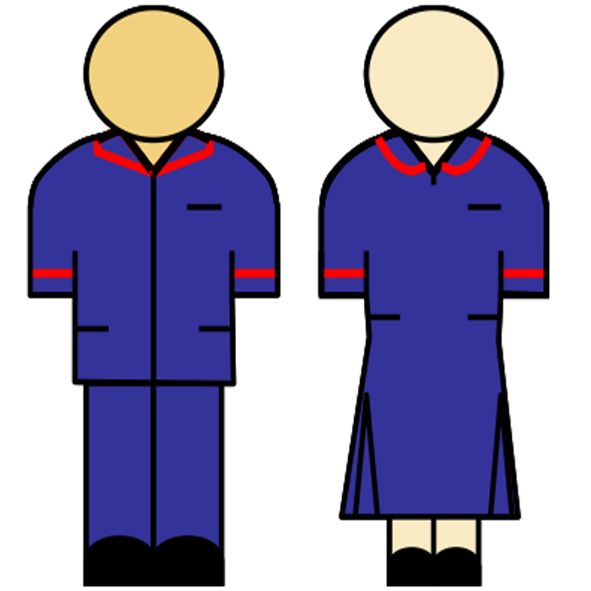 Blue uniform with red stripe