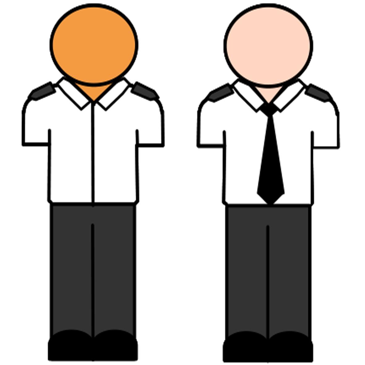 White shirt with black lapels