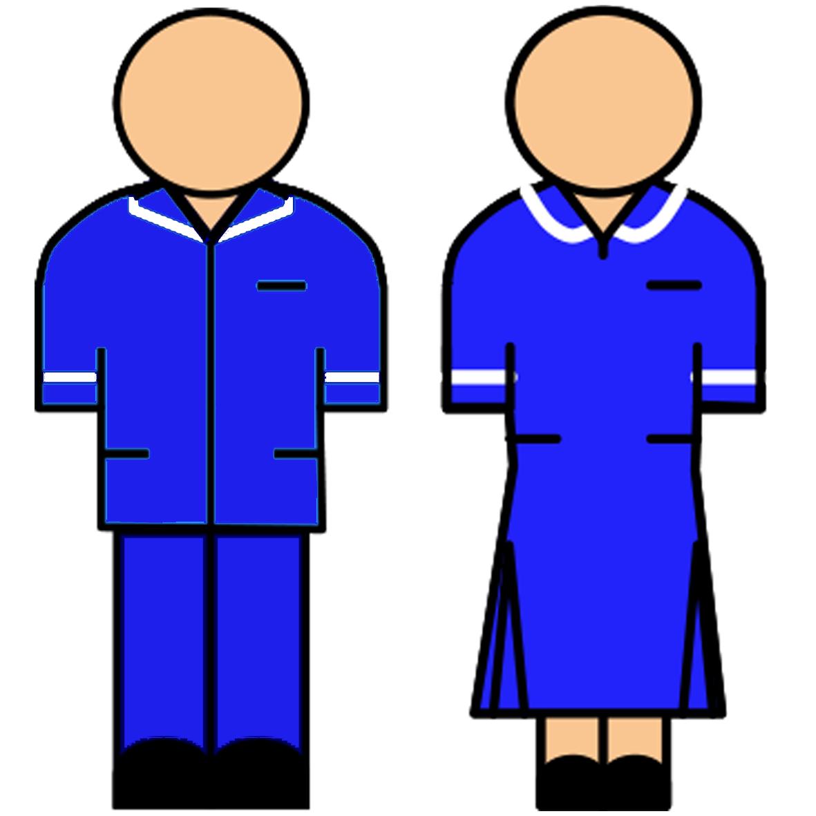 Blue uniform with white stripe